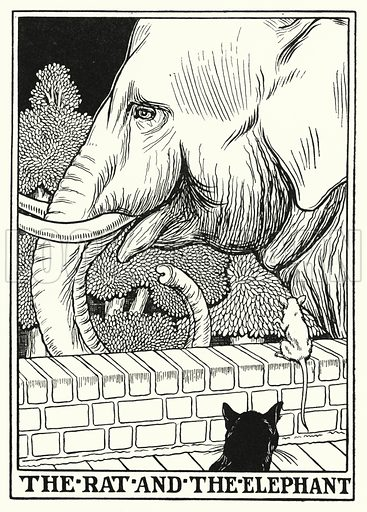 The rat and the elephant. Illustration for A Hundred Fables of La Fontaine (John Lane, The Bodley Head, 3rd edn, c 1910).