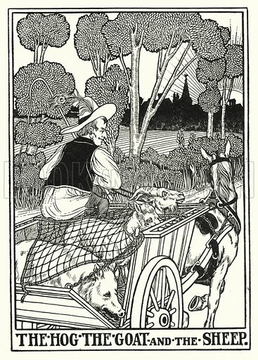 The hog, the goat and the sheep. Illustration for A Hundred Fables of La Fontaine (John Lane, The Bodley Head, 3rd edn, c 1910).