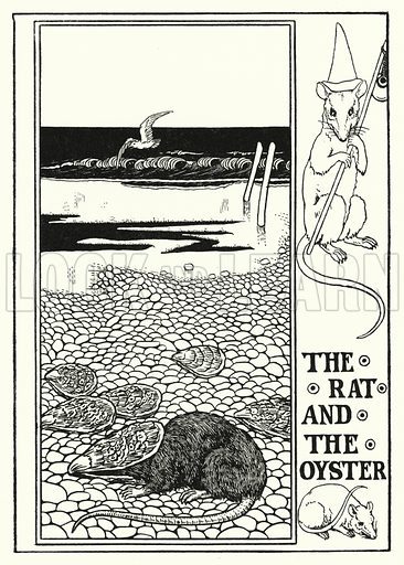 The rat and the oyster. Illustration for A Hundred Fables of La Fontaine (John Lane, The Bodley Head, 3rd edn, c 1910).