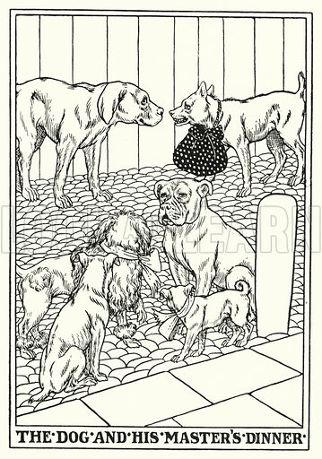 The dog and his master's dinner. Illustration for A Hundred Fables of La Fontaine (John Lane, The Bodley Head, 3rd edn, c 1910).