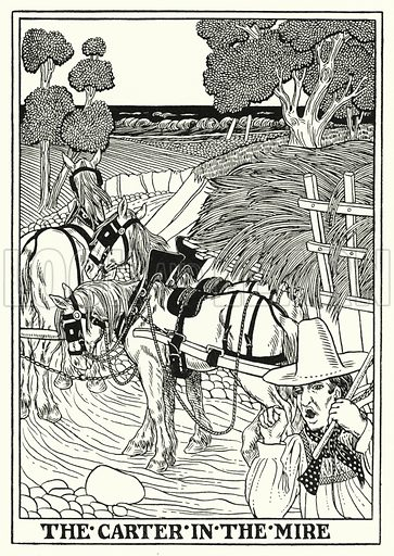 The carter in the mire. Illustration for A Hundred Fables of La Fontaine (John Lane, The Bodley Head, 3rd edn, c 1910).