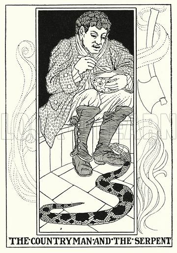 The countryman and the serpent. Illustration for A Hundred Fables of La Fontaine (John Lane, The Bodley Head, 3rd edn, c 1910).