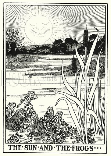 The sun and the frogs. Illustration for A Hundred Fables of La Fontaine (John Lane, The Bodley Head, 3rd edn, c 1910).