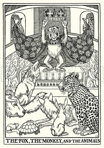 The fox, the monkey, and the animals. Illustration for A Hundred Fables of La Fontaine (John Lane, The Bodley Head, 3rd edn, c 1910).