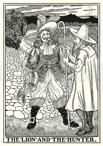 The lion and the hunter. Illustration for A Hundred Fables of La Fontaine (John Lane, The Bodley Head, 3rd edn, c 1910).