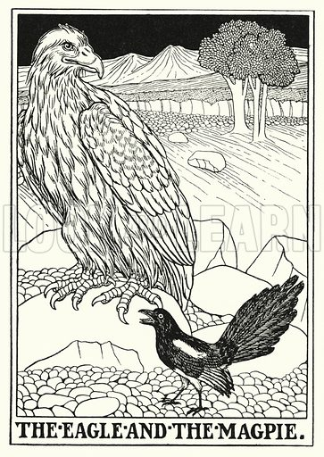 The eagle and the magpie. Illustration for A Hundred Fables of La Fontaine (John Lane, The Bodley Head, 3rd edn, c 1910).