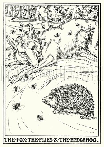 The fox, the flies and the hedgehog. Illustration for A Hundred Fables of La Fontaine (John Lane, The Bodley Head, 3rd edn, c 1910).