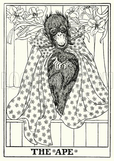 The ape. Illustration for A Hundred Fables of La Fontaine (John Lane, The Bodley Head, 3rd edn, c 1910).