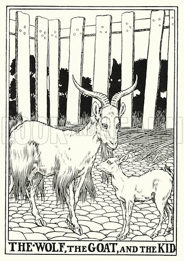 The wolf, the goat, and the kid. Illustration for A Hundred Fables of La Fontaine (John Lane, The Bodley Head, 3rd edn, c 1910).