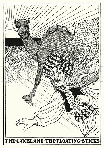 The camel and the floating sticks. Illustration for A Hundred Fables of La Fontaine (John Lane, The Bodley Head, 3rd edn, c 1910).