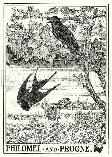 Philomel and progne. Illustration for A Hundred Fables of La Fontaine (John Lane, The Bodley Head, 3rd edn, c 1910).