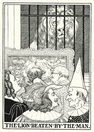 The lion beaten by the man. Illustration for A Hundred Fables of La Fontaine (John Lane, The Bodley Head, 3rd edn, c 1910).