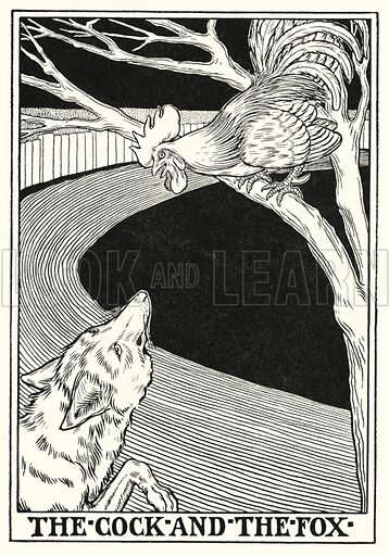 The cock and the fox. Illustration for A Hundred Fables of La Fontaine (John Lane, The Bodley Head, 3rd edn, c 1910).