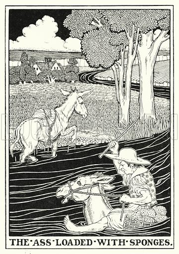 The ass loaded with sponges. Illustration for A Hundred Fables of La Fontaine (John Lane, The Bodley Head, 3rd edn, c 1910).