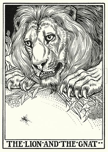 The lion and the gnat. Illustration for A Hundred Fables of La Fontaine (John Lane, The Bodley Head, 3rd edn, c 1910).