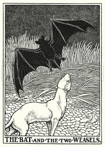 The bat and the two weasels. Illustration for A Hundred Fables of La Fontaine (John Lane, The Bodley Head, 3rd edn, c 1910).