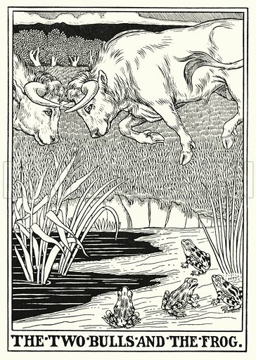 The two bulls and the frog. Illustration for A Hundred Fables of La Fontaine (John Lane, The Bodley Head, 3rd edn, c 1910).