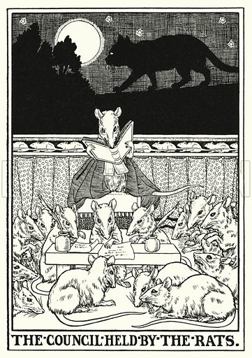 The council held by the rats. Illustration for A Hundred Fables of La Fontaine (John Lane, The Bodley Head, 3rd edn, c 1910).