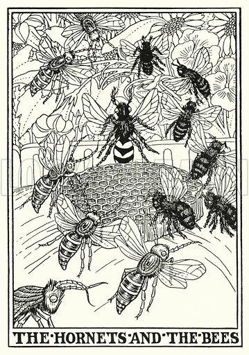 The hornets and the bees. Illustration for A Hundred Fables of La Fontaine (John Lane, The Bodley Head, 3rd edn, c 1910).