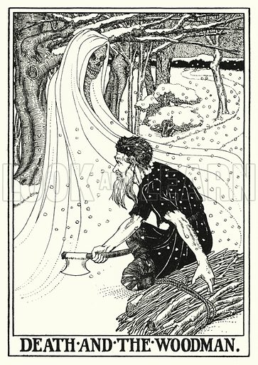 Death and the woodman. Illustration for A Hundred Fables of La Fontaine (John Lane, The Bodley Head, 3rd edn, c 1910).