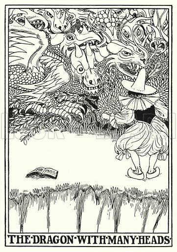 The dragon with many heads. Illustration for A Hundred Fables of La Fontaine (John Lane, The Bodley Head, 3rd edn, c 1910).