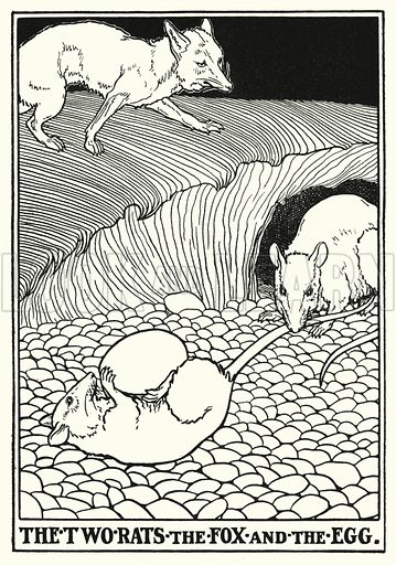 The two rats, the fox and the egg. Illustration for A Hundred Fables of La Fontaine (John Lane, The Bodley Head, 3rd edn, c 1910).