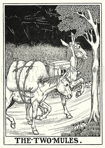 The two mules. Illustration for A Hundred Fables of La Fontaine (John Lane, The Bodley Head, 3rd edn, c 1910).