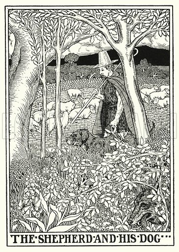 The shepherd and his dog. Illustration for A Hundred Fables of La Fontaine (John Lane, The Bodley Head, 3rd edn, c 1910).