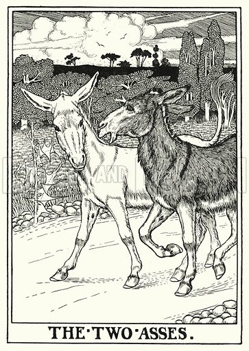The two asses. Illustration for A Hundred Fables of La Fontaine (John Lane, The Bodley Head, 3rd edn, c 1910).