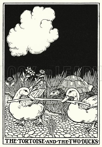 The tortoise and the two ducks. Illustration for A Hundred Fables of La Fontaine (John Lane, The Bodley Head, 3rd edn, c 1910).
