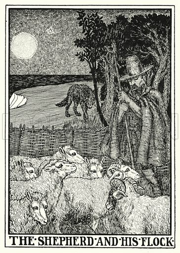 The shepherd and his flock. Illustration for A Hundred Fables of La Fontaine (John Lane, The Bodley Head, 3rd edn, c 1910).