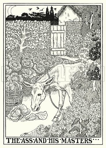 The ass and his masters. Illustration for A Hundred Fables of La Fontaine (John Lane, The Bodley Head, 3rd edn, c 1910).