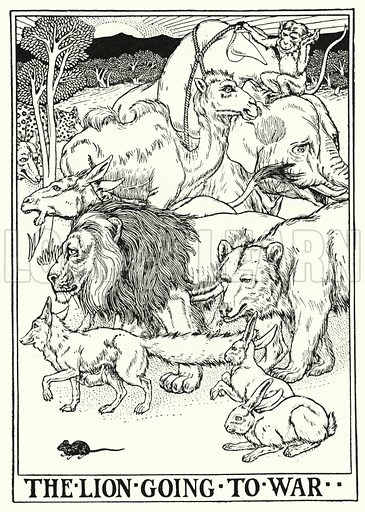 The lion going to war. Illustration for A Hundred Fables of La Fontaine (John Lane, The Bodley Head, 3rd edn, c 1910).