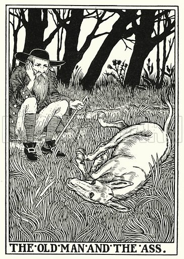 The old man and the ass. Illustration for A Hundred Fables of La Fontaine (John Lane, The Bodley Head, 3rd edn, c 1910).
