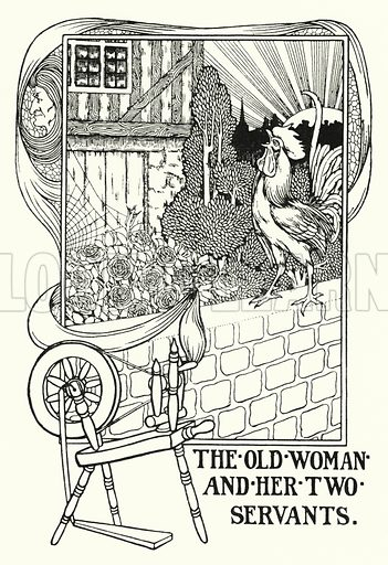 The old woman and her two servants. Illustration for A Hundred Fables of La Fontaine (John Lane, The Bodley Head, 3rd edn, c 1910).