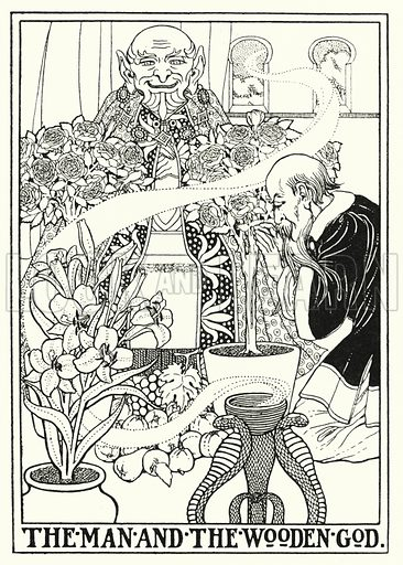 The man and the wooden God. Illustration for A Hundred Fables of La Fontaine (John Lane, The Bodley Head, 3rd edn, c 1910).