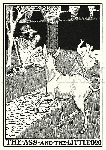 The ass and the little dog. Illustration for A Hundred Fables of La Fontaine (John Lane, The Bodley Head, 3rd edn, c 1910).
