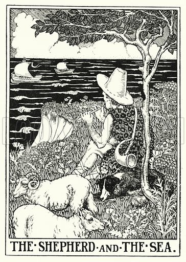The shepherd and the sea. Illustration for A Hundred Fables of La Fontaine (John Lane, The Bodley Head, 3rd edn, c 1910).