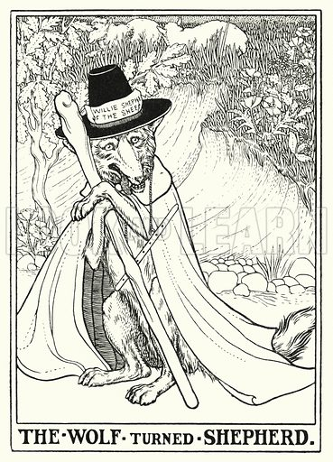 The wolf turned shepherd. Illustration for A Hundred Fables of La Fontaine (John Lane, The Bodley Head, 3rd edn, c 1910).