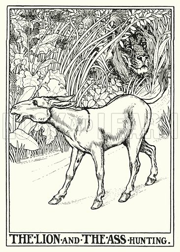 The lion and the ass hunting. Illustration for A Hundred Fables of La Fontaine (John Lane, The Bodley Head, 3rd edn, c 1910).