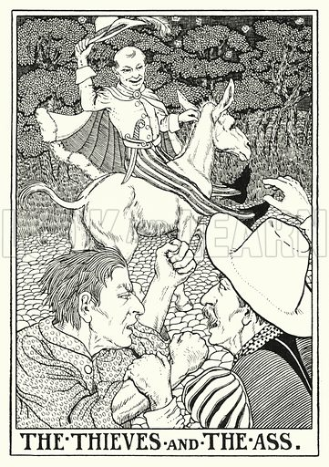 The thieves and the ass. Illustration for A Hundred Fables of La Fontaine (John Lane, The Bodley Head, 3rd edn, c 1910).