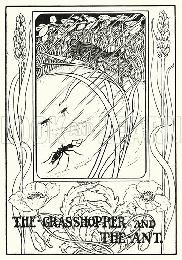 The grasshopper and the ant. Illustration for A Hundred Fables of La Fontaine (John Lane, The Bodley Head, 3rd edn, c 1910).