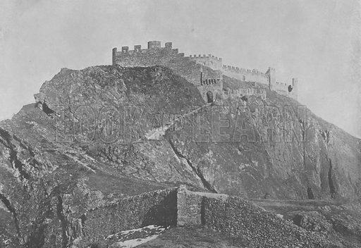 Sion, Les Ruines du Chateau de Tourbillon. Illustration for Mon Voyage En Suisse (L Geisler, c 1895).