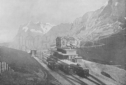 Petite Scheidegg et le Wetterhorn. Illustration for Mon Voyage En Suisse (L Geisler, c 1895).