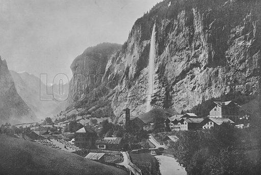 Lauterbrunnen, Cascade du Staubbach. Illustration for Mon Voyage En Suisse (L Geisler, c 1895).