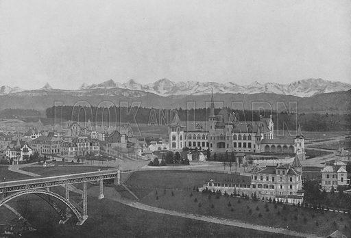 Berne, Vue sur le Kirchenfeld et les Alpes bernoises. Illustration for Mon Voyage En Suisse (L Geisler, c 1895).