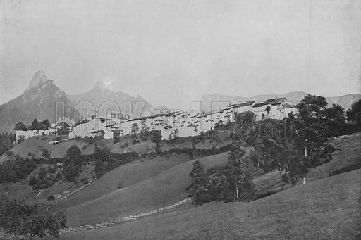 Gruyere. Illustration for Mon Voyage En Suisse (L Geisler, c 1895).