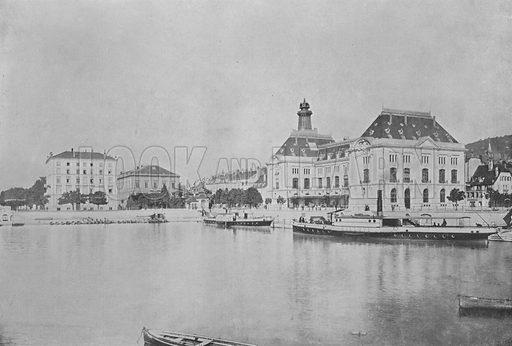 Neuchatel, Le Port et l'Hotel des Postes. Illustration for Mon Voyage En Suisse (L Geisler, c 1895).