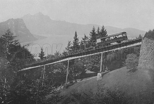 Ligne du Righi, Pont du Schnurtobel. Illustration for Mon Voyage En Suisse (L Geisler, c 1895).