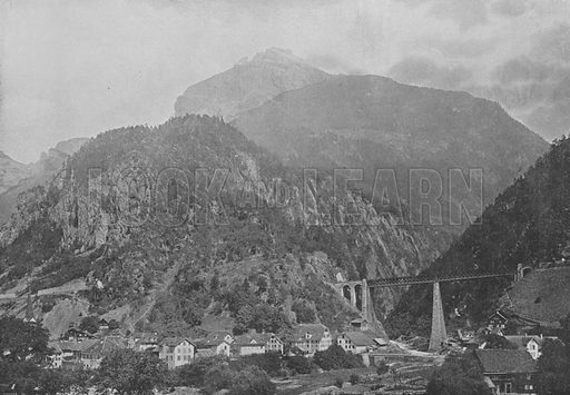 Amsteg, Ligne du Gothard. Illustration for Mon Voyage En Suisse (L Geisler, c 1895).